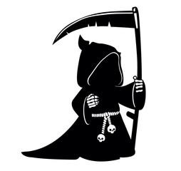 Сartoon grim reaper with scythe