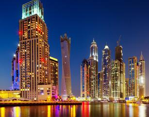 A view of Dubai Marina, Dubai, UAE at Dusk
