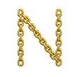 3d Gold Chain Alphabet Font - N