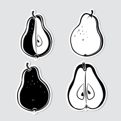 Set of vector decorative pears