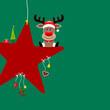 Sitting Rudolph On Red Star & Symbols
