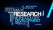 Research blue word tag cloud video animation