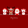 Sitting Snowman, Rudolph,Santa & Icebear Red Background