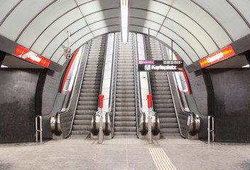 escalator on karlsplatz metro station