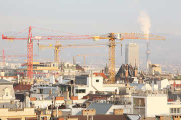 Construction with cranes near living buildings in Vienna