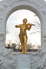 Johann Strauss statue on pedestal