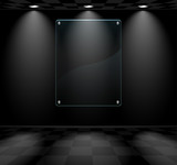 Black room with glass placeholder poster