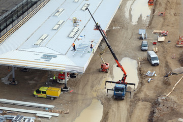 Construction of station with crane in Vienna, Austria
