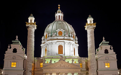 St. Charles church at night in Austria, Viena