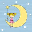 Niña sentada en la luna