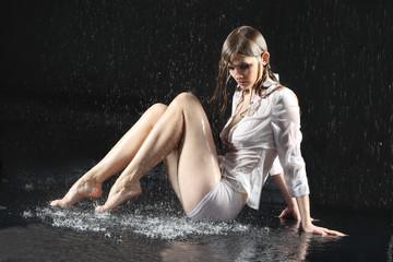 Wet sexy underwear girl seat on floor under water