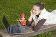 Concept of online shopping, girl shopping online