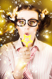 Female Nerd Blowing Bubbles Of Business Success