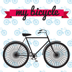 Black vector bicycle on seamless pattern