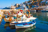 Fishing boats in Greek island Hydra Saronikos Gulf
