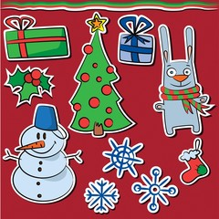 Collection of new year and christmas stickers