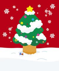 クリスマスツリーとおもちゃ赤