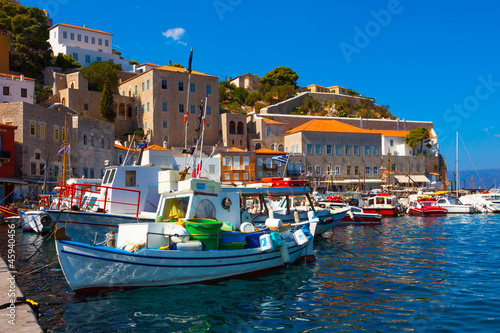 Staande foto Athene Fishing boats in Greek island Hydra at Saronikos Gulf