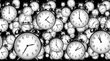 many old fashioned clocks flying in time lapse in 3D space