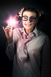 Bright And Nerdy Business Woman With Smart Idea