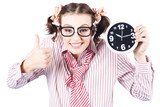 Isolated Young Girl Showing Clock With Thumbs Up