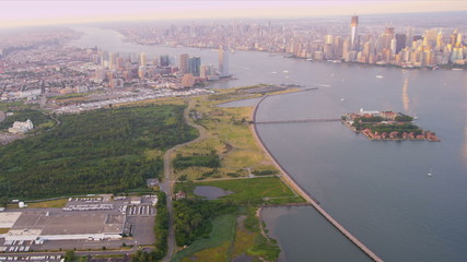 Aerial view New Jersey,  Manhattan, New York, USA,