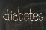 The word diabetes handwritten with chalk  on a blackboard