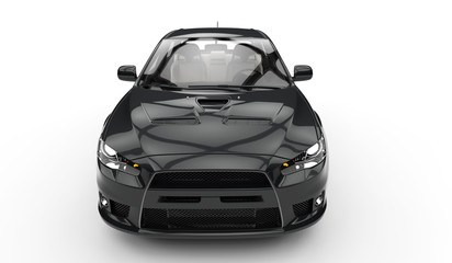 Black Race Car Top Front View