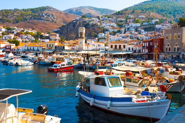 view of Boats in row in Hydra Island at Saronikos Gulf Greece