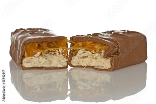 Chocolate bar with caramel