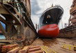 canvas print picture - A large tanker in shipyard Gdansk, Poland.