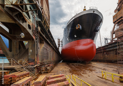 canvas print picture A large tanker in shipyard Gdansk, Poland.