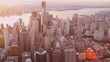 Aerial view lower Manhattan with Skyscrapers Hudson river, USA