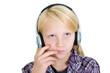 Blondes Mädchen mit Kopfhörern
