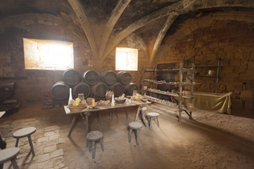 Medieval kitchen and dining area in old castle in France