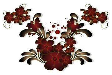 floral rouge et ombre