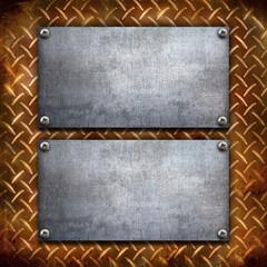 doppia piastra su metallo vintage