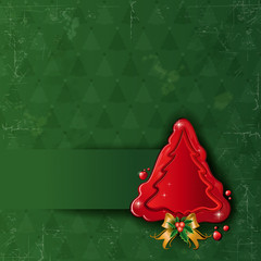 Christmas tree wax green background aged