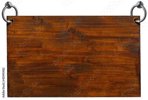 Empty Wooden Signboard with clipping path