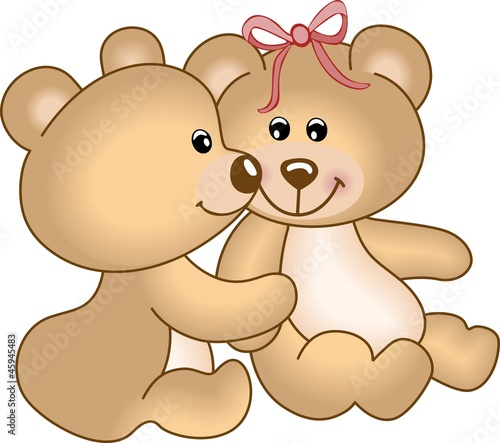 Deurstickers Beren Teddy bears in love