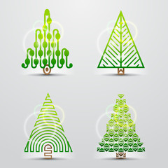 Christmas trees. Set of vector symbols (icons, signs)
