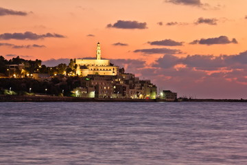 The lights of Jaffa at sunset
