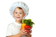 cook boy Chef is holding fresh vegetables. isolated