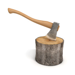 axe in a wooden stump - log isolated