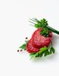 Sliced Salami and herbs