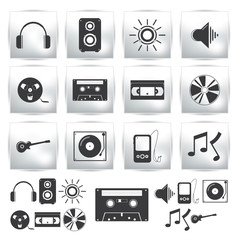 Vector icons set . Music and sound