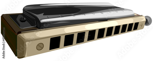 Vector illustration of chromatic harmonica.