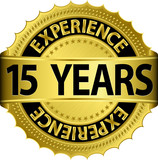 15 years experience golden label with ribbon