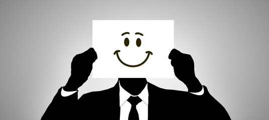 Mann Zettel Gesicht Smiley