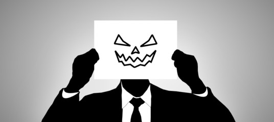 Geschäftsmann Zettel böser Blick
